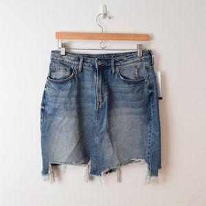 H&M Conscious Distressed Denim Skirt New Womens 12